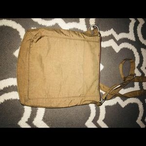 Bagallini tan nylon water resistant crossbody bag